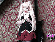 Plump Blonde Wearing Stockings And Short Skirt Masturbates Her P