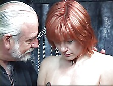 Mature Redheaded Slave With Saggy Tits Is Whipped In Hippy's Bas