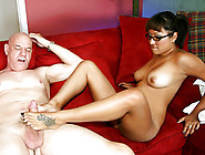 Busty Asian In Glasses Gives Footjob And Gets Fucked