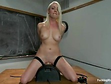 Blonde Teacher Found A Fucking Machine In The Classroom And Deci