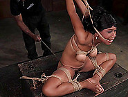 Natural Black Titties Tied Up Tight And Suffering
