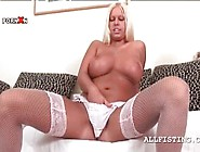 Sex Bomb Blonde Rubs Big Tits And Lusty Pussy