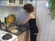 Skinny Mature Mom And Son In The Kitchen