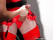 Femdom Makes Big And Hard Pantie Sissy Scream And Spunk