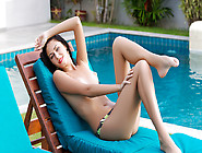 Slender Playboy Angel Strips By The Pool