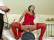 European Girl Rides A Fuck Machine Then Switches To His Cock