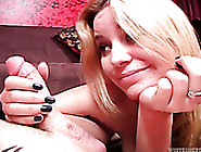 Naughty Blonde Flirts With Guy And Sucks His Dick And Balls