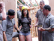 Dark-Haired Maid Engages In Her Very First Gangbang Session