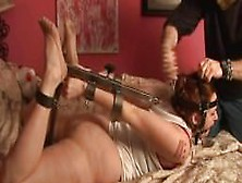 Captured And Strictly Hogtied With Metal Machine