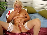 Blonde Granny Uses Fingers And Dildo To Please Herself