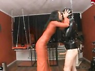 Mistress Empty Balls With Gloved Hands