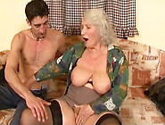 Old Blonde Lady With Big Boobs Blows Cock Of A Young Man