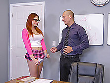 Red-Haired Schoolgirl With A Perfect Body Gets Nailed On The Tab
