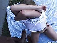 Dumpy White Whore Fucks With Horny Black Macho Outdoors