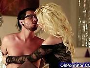 Supple Blonde In A Black Dress Sucking Huge Cock