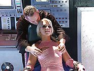 Curvy Blonde Bitch Gets Her Puffy Hairy Pussy Fondled By One Guy