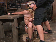 Totally Immobilized Blonde With Big Boobies Has To Suck Big Fat