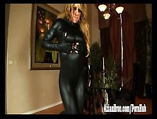 Fitness Babe Strips Out Of Her Catsuit And Finger Fucks Her Wet