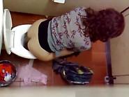 Voyeur Filming Over The Toilet Division Women Peeing