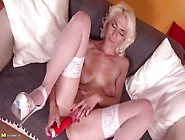 Horny Blonde Granny In Stockings Ariena Has Dildo Sex On The Cou