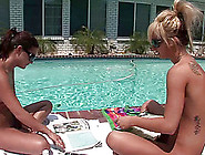 Two Hot Girls Hang Out Naked By The Pool And Relax