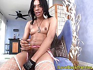Smalltitted Ebony Tranny Tugging Her Big Cock