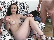 Adorable Young Bombshell Gets Her Pusys Licked By An Old Cat