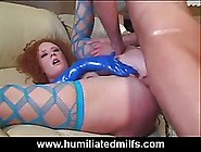 Red Haired Lady Is Wearing Blue,  Latex Gloves While Doing Her Be