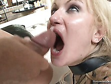 Blonde Bound In Fetish Gear Is Left Dripping Cum From Her Mouth