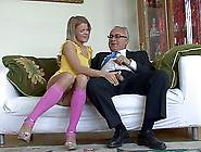 Older Man Fucks A Blonde Teen Till She Swallows His Cum