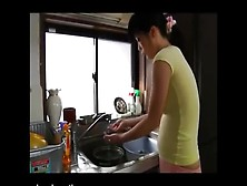 Japanese Teen Pooping In Pink Panties While Doing Dishes