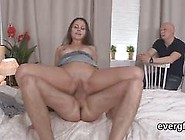 Bald Boyfriend Watches A Slim Young Guy Banging His Teen Babe Do