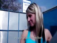Blondie Gets Melons And Ass Out At Carwash For Money