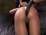 Lesbian Sub In Trio Fingered And Spanked While Bound