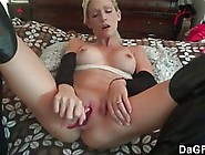 Horny Blonde Wife Puts On Black Boots With High Heels And Calls