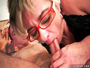 Skinny Lady Wears Glasses And Sits On Dick