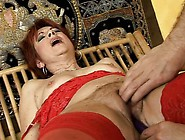 Redhead Mature Lady In Stockings Dike Relishes Overwhelming Plea