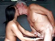 Salacious Babe With Big Natural Tits Sucking An Old Man's Cock