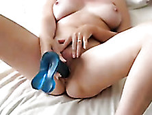Horny Ardent Nympho Had A Huge Blue Dildo To Fuck Her Hungry Moi