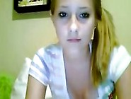 Cute Little Blonde On Her Webcam Poses And Rubs Her Pussy