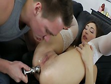 Dirty Slut Kim Is Drilled In Her Butt Hole With Huge Dildo