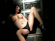 Hot Gothic Babe In Sexy Corset Strips And Masturbates