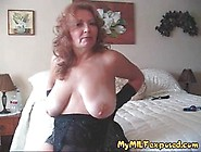 Busty Granny Is Wearing Satin Gloves And Playing With Her Big Ti