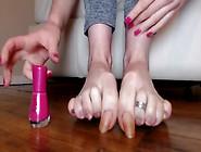 Mature Long Natural Toenails Pink Polish