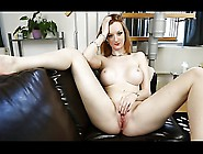 British Slut Zara Frigs Herself On A Leathersofa