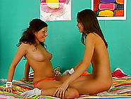 Immaculate Lesbian Babes Pussy Toying In Bed Till Orgasm