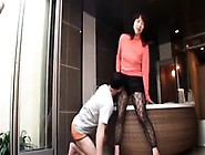 Panthosed Japanese Cougar With Sexy Long Legs Gets Her Hole