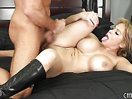 Licking Her Own Huge Tits While Having Her Pussy Boned