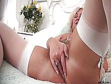 Gorgeous Blonde Woman In White,  Erotic Stockings,  Ellen B Is Pla