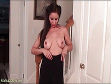 Milf In Soft Satin Blouse Strips Solo